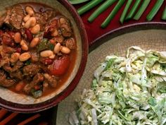 Superbowl Chili and Sour Cream Cabbage Slaw