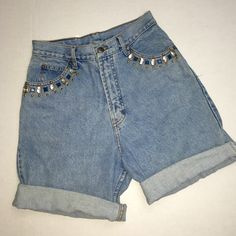 "High waisted Jeweled shorts High waisted mom shorts with crystal, gold and turquoise jewels 28"" waist 16.5"" long they are cuffed about twice Shorts Jean Shorts"