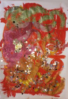 """Dodicesimo incontro. Titolo: """"Amore d'Autore"""".  Interpretazione di un quadro di Klimt, """"L'albero della vita"""".  Da una traccia iniziale a matita il nostro trio di ragazzi, senza conoscere il quadro ma utilizzando i materiali a disposizione (scelti appositamente) hanno dato la loro interpretazione sollecitati dallo stimolo di tantissime """"luminescenze colorate""""...."""