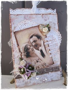 """Wedding Card created by LLC DT Member Elin Torbergsen, using papers from Maja Design's """"Vintage Summer Basics"""" collection."""