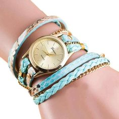 Wrap Around Leather Bracelet Quartz Watch