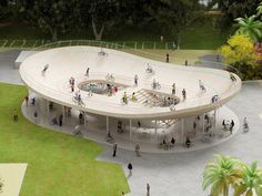 Designed by NL Architects, the Bicycle Club is a rooftop velodrome soon to be completed in Hainan, China.