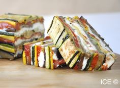 Roasted Vegetable and Goat Cheese Terrine Vegetable Recipes, Vegetarian Recipes, Cooking Recipes, Catering Food, Appetisers, Roasted Vegetables, Culinary Arts, Food Inspiration, Appetizer Recipes
