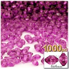 Plastic beads, Rondelle Transparent, 6x4mm, 1000-pc, Hot Pink