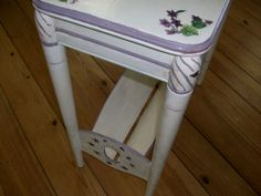Side View...Spring Violet Side Table coming soon to Black Diamond  Romantic country/American Address...la parisienne view booth...  lovely in home décor, covered porch, or garden wedding displays.  Visit Memory Furniture Finds Facebook Page.