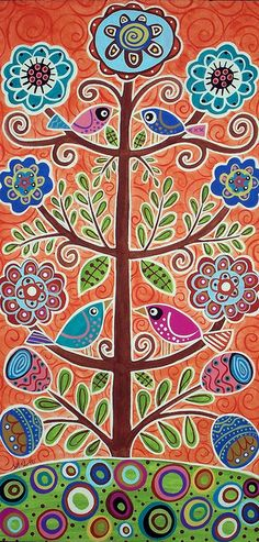 Abstract Folk Art Painting - 4 Tree Birds by Karla Gerard Bird Canvas, Canvas Art, Art Indien, Karla Gerard, Bird Tree, Arte Popular, Naive Art, Whimsical Art, Art Plastique