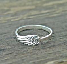 Joyería de la pluma anillo de ANGEL WING plata por Hellomyflower