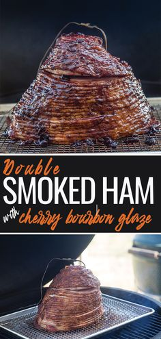 Smoker Recipes 56779 Double Smoked Ham with Cherry Bourbon Glaze is the ultimate holiday ham! Find out how to cook a ham in your smoker for the best flavor. Comes with wine pairing recommendations! Smoker Grill Recipes, Barbecue Recipes, Grilling Recipes, Smoker Cooking, Electric Smoker Recipes, Best Bbq Recipes, Grilling Ideas, Cooking Steak, Smoked Ham Recipe