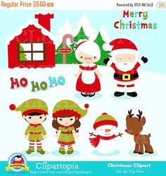 Christmas Clipart / Cute Christmas Clip art / Santa Clipart for Personal and Commercial use/ Instant Download  ** INSTANT DOWNLOAD **** Once payment