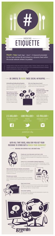 Mind Your Manners: Social Media Hashtag Etiquette #infographic