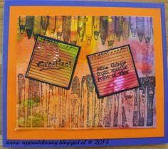 Acrylverf achtergrond met Artjourney stamps Brushes en Pencils