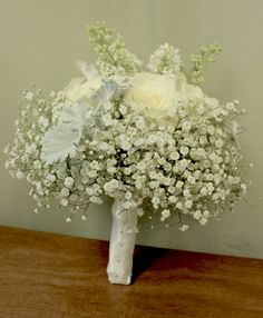 Pretty Wedding Bouquet Featuring White Roses, White Gypsophila, White Lilac + Broad Leaf Dusty Miller