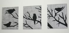 painted birds on newspaper covered canvas