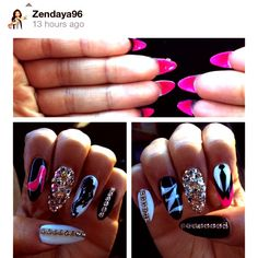 I'm going to get my nails done like this sometime Fabulous Nails, Gorgeous Nails, Love Nails, How To Do Nails, My Nails, Almond Nails Designs, Nail Designs, Zendaya Nails, Sweet 16 Nails