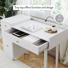 Nathan James Daisy White and Gold Makeup Desk with and Brass Accent Knobs Vanity Table 54001 - The Home Depot Makeup Room Diy, Makeup Desk, Gold Makeup, Diy Makeup Vanity Table, Makeup Drawer, Makeup Rooms, Makeup Storage, White Vanity Desk With Drawers, Vanity Drawers