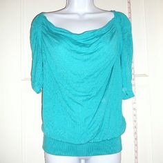 Turquoise Express Top Only worn 2X's!!  Express top. Beautiful color, cowl neck office ready top.  Great condition, like new. Just doesn't fit me. Express Tops