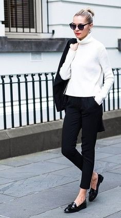 Minimal and classic...black trousers, cream jumper, black patent loafers