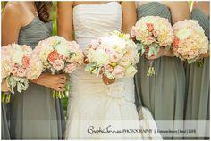 Splendid wedding color inspiration & beautiful bridal & bridesmaids bouquets.     Black Fox Farms Wedding by BraskaJennea Photography  An ivory, pink, & grey Southern Wedding