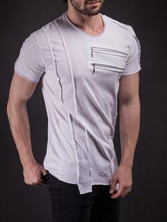 SAW Men Asymmetrical Zippers T-shirt - White                                                                                                                                                                                 More