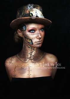 Steampunk special fx makeup video tutorial for gold robot with rivets and fears beneath its skin. makeup idea for men and women, halloween costumes and cosplay Steampunk Make Up, Gothic Steampunk, Steampunk Halloween, Halloween Kostüm, Halloween Face Makeup, Halloween Masker, Halloween Costumes, Women Halloween, Steam Punk
