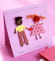 Buttoned Up - patterned paper, buttons, & string for hair to create little people.