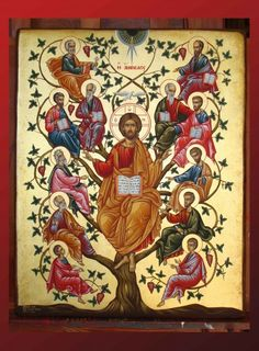 Η Άμπελος - Jesus Christ The Vineyard Byzantine Icons, Byzantine Art, Religious Icons, Religious Art, Day Of Pentecost, Holy Thursday, Jesus Painting, Christ The King, Religious Paintings