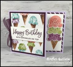Fun Fold Cards, Folded Cards, Ice Cream Art, Birthday Calendar, Cardmaking And Papercraft, Treat Holder, Stamping Up Cards, Handmade Birthday Cards, Card Making Inspiration