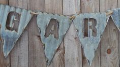 Vintage Style Re-purposed Old Corrugated Metal Pendent Flags for Banners
