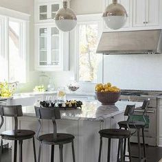 Kitchen with Industrial Counter Stools, Transitional, Kitchen, Julie Couch Interiors
