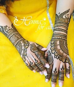 Mehendi to Applebridal henna 💛💛 // by .No automatic alt text available. Full Hand Mehndi Designs, Henna Art Designs, Mehndi Designs For Girls, Mehndi Designs 2018, Modern Mehndi Designs, Dulhan Mehndi Designs, Mehndi Designs For Fingers, Wedding Mehndi Designs, Mehndi Design Pictures