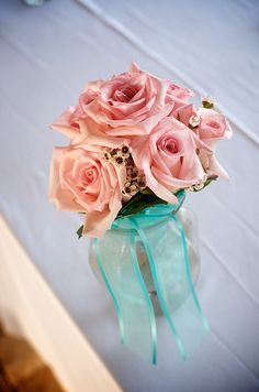 Sand Petal Weddings offers the convenient rental service of beach style centerpieces for ease to the traveling destination bride. Beach Wedding Reception, Wedding Reception Centerpieces, Aqua, Turquoise, Pink Beach, Flower Power, Mason Jars, Rose, Floral