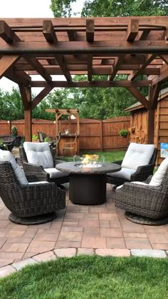 35 Inspiring Pergola Patio Design Ideas For Your Backyard Decor Fire Pit Seating, Backyard Seating, Backyard Patio Designs, Outdoor Pergola, Backyard Pergola, Outdoor Fire, Outdoor Decor, Patio Ideas, Outdoor Chairs