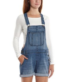 Another great find on District Blue Carly Denim Shortalls by Jessica Simpson Jeanswear Overalls Outfit, Denim Overalls, Overall Shorts, Leotards, Perfect Fit, That Look, My Style, How To Wear, Blue
