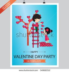 Valentines Day Poster Design Blue background - stock vector