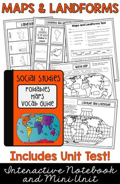 Maps, Continents and Oceans, Landforms, Map Skills 3rd Grade Social Studies, Social Studies Notebook, Social Studies Classroom, Social Studies Activities, Teaching Social Studies, Teaching History, History Education, Teaching Career, Elementary Education
