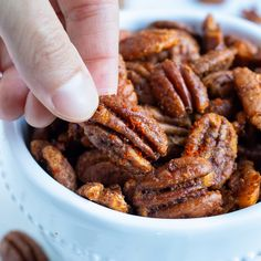Savory Roasted Pecans Recipe, Spiced Pecans, Roasted Nuts, Toasted Pecans, Pecan Recipes, Spicy Recipes, Paleo Peanut Butter, Glazed Pecans, Monthly Menu