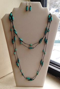 Turquoise Hand Knotted Paper Bead Lariat by FeithHodgeCreations, $35.00