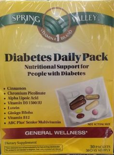 Spring Valley Diabetes Daily Pack, Supports General Wellness, 30 Packets Reviews $ 9.99 Vitamins  Dietary Supplements Product Features nutritional support for people with diabetes with cinnamon and Chromium picolinate 30 daily packets Vitamins  Dietary Supplements Product Description Nutritional Support for People with Diabetes. Cinnamon, Chromium Picolinate, Alpha Lipoic Acid, Vitamin D3 1500 IU, Lutein, Ginko Biloba, Vitamin B12, ABC Plus Senior Multivitamin. 30..