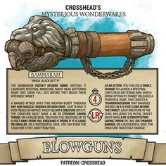 Homebrewing dnd Homebrew Magic Weapon Legendary Bammaram Blowgun Magic Items for Damp;D Dungeons and Dragons, DnD made by CrossheadStudios. Dungeons And Dragons Homebrew, D&d Dungeons And Dragons, Fantasy Armor, Fantasy Weapons, Dnd Stats, Dnd Dragons, Dnd Classes, Dnd 5e Homebrew, Dnd Art