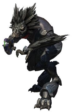 The T'vaoans, also known as Skirmishers, are a sub-species of Kig-Yar in the Covenant Army. Skirmishers are of the same species as the more common, lightly-built Jackals, but they are much faster, stronger, can jump higher and more agile than any ordinary Kig-Yar. In addition, they sport manes of feathers rather than quills. A Skirmisher's voice is more raspy and guttural - this is because they have an expanded voice chamber in their throat. Skirmishers serve as Covenant shock troopers...