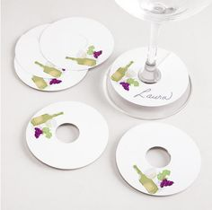 Wineglasses: Hostess and guests will be happy you gifted these wineglass tags ($3) when they know exactly whose drink is whose. i got an idea