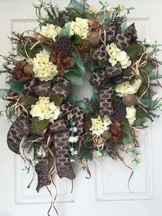 Everyday or Summer Neutral Mesh Wreath by WilliamsFloral on Etsy