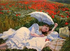 Vladimir Volegov - woman relaxing in wildflower field (google him. You'll want to look at every painting!)