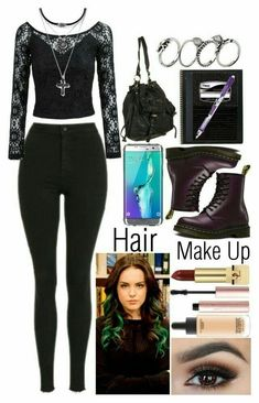 A fashion look from September 2017 featuring off-the-shoulder blouses, stretch jeans and purple shoes. Browse and shop related looks. Grunge Look, 90s Grunge, Grunge Style, Soft Grunge, Grunge Outfits, Mode Outfits, New Outfits, Fashion Outfits, Aesthetic Grunge Outfit