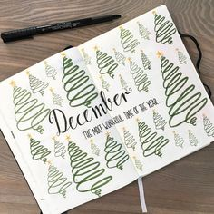 Bullet journal monthly cover page, December cover page, Christmas tree drawings. @bulletjournaldk