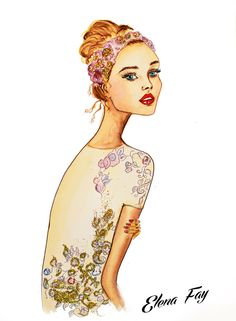 fashion illustration, watercolor painting, art by Elena Fay, sparkle, wedding look illustration