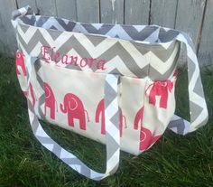 Large Diaper Bag/ Pink Elephant and Grey by SewSweetBabyDesigns