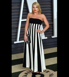 Margot Robbie's strapless black and white gown is simply perfection.