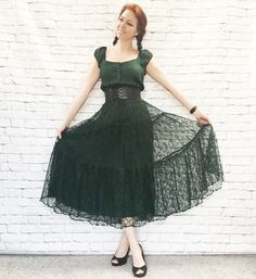 Vintage 90s Sheer Lace Tiered Puff Sleeve Peasant Midi Dress S M Dark Green Layered Bohemian Goth Festival Grunge Revival by PopFizzVintage on Etsy