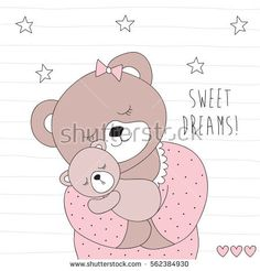 cute bear and her child vector illustration